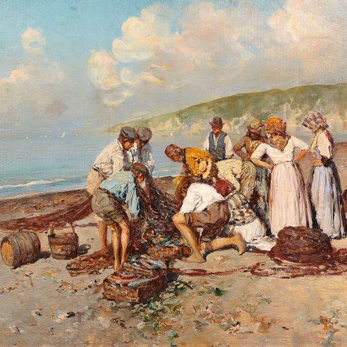 Giuseppe GIARDIELLO (1887 1920)  Les pêcheurs  Huile sur toileSignée en bas à d…