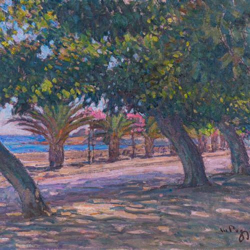 Marcel Dominique POGGIOLI (1882 1969)  Promenade Lantivy à Ajaccio, Corse  Huile…