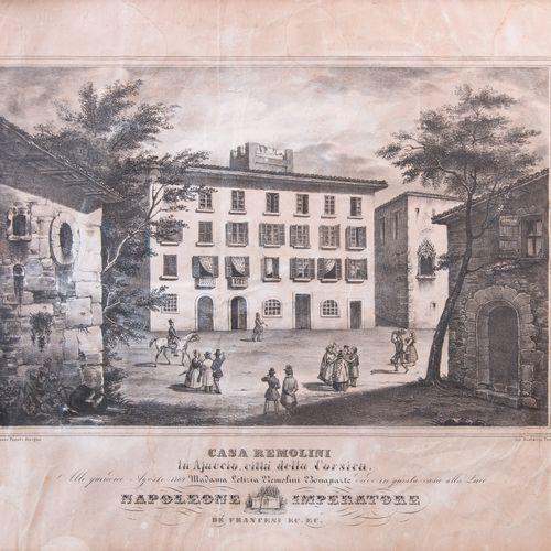 Anonyme  Ajaccio, maison Bonaparte  Lithographie titrée « Casa Ramolini in Ajacc…
