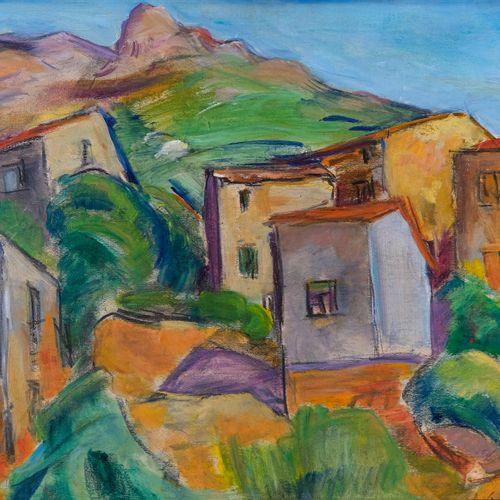Antoine Marius GIANELLI (1896 1983)  Le village d'Ocana, Corse  Huile sur pannea…