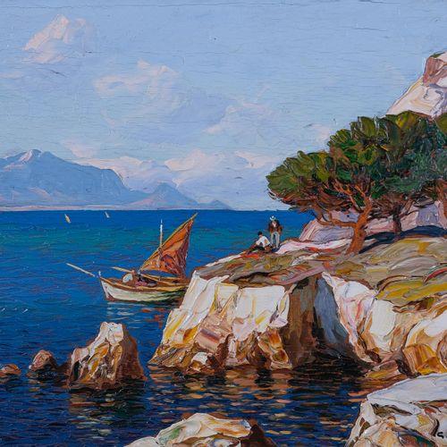 Gustave VIDAL (1895 1966)  Pêcheurs corses en bord de côtes  Huile sur panneau S…