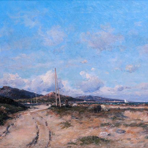 Jean Baptiste OLIVE (1848 1936)  La plage de Saint Florent  Huile sur toileSign…