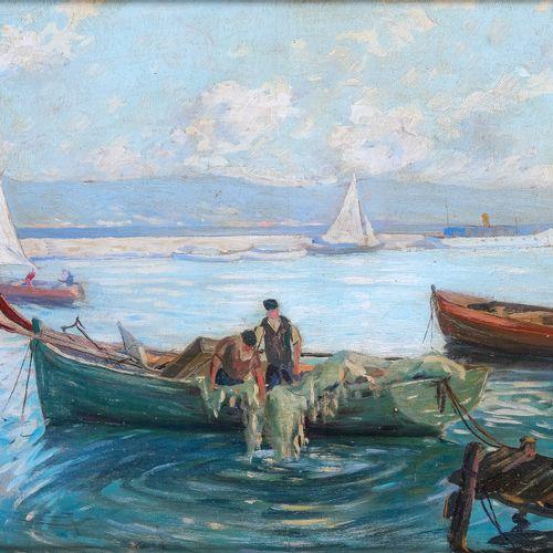 M. CHAPUIS (XX)  Pêcheurs au mouillage  Huile sur panneau Signée en bas à gauche…