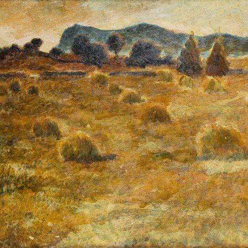 José FABRI CANTI (1916 1994)  Paysage aux meules de foin en Corse  Huile sur car…