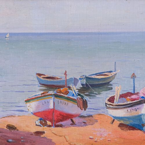 Olynthe MADRIGALI (1887 1950)  Barques de pêcheurs sur la plage  Huile sur panne…