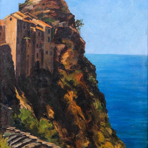 Annie Marie ROUSTAN (1920)  La tour Génoise de Nonza, village du Cap  Huile sur …