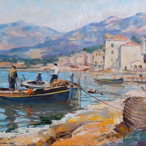 Tony CARDELLA (1898 1976)  Pêcheurs dans le port de Propriano  Huile sur toileS…