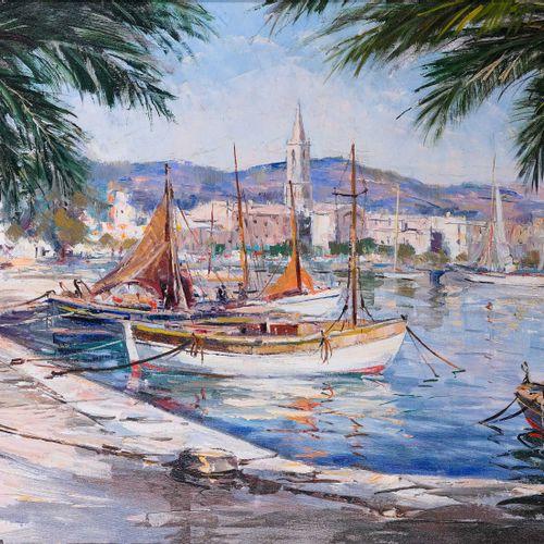 Tony CARDELLA (1898 1976)  Pêcheurs à quai dans le port de Saint FlorentHuile s…