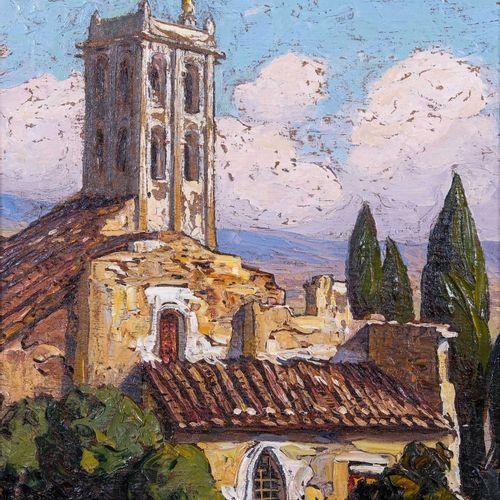 Gustave VIDAL (1895 1966)  L'église  Huile sur toile marouflée sur carton Signée…