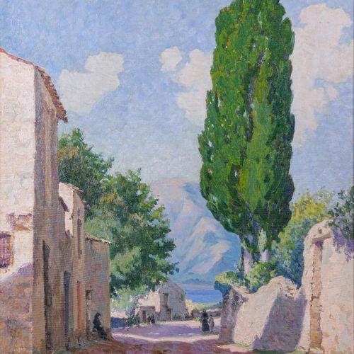 Remy E. LANDEAU (1859 1934)  Village de Saint Florent  Huile sur toileSignée en…