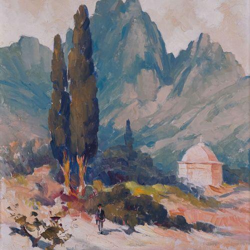 Tony CARDELLA (1898 1976)  Chapelle à Corté, Corse  Huile sur panneau Signée en …