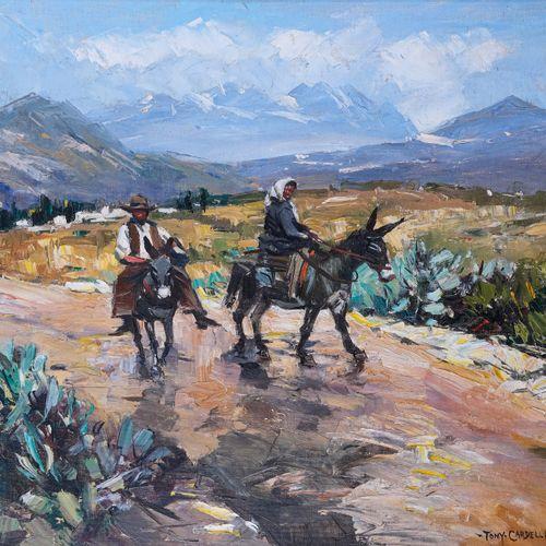 Tony CARDELLA (1898 1976)  Paysans corses sur la route de MontemaggioreHuile su…
