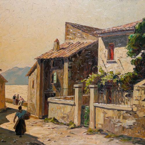 Gustave VIDAL (1895 1966)  Village d'Erbalunga  Huile sur toileSignée en bas à …