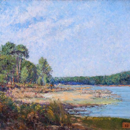 Remy E. LANDEAU (1859 1934)  Etang de Biguglia, Corse  Huile sur toileSignée en…