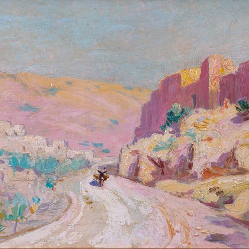 Olynthe MADRIGALI (1887 1950)  Personnage sur le chemin  Huile sur panneau Signé…