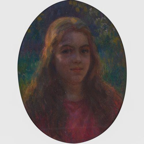 Marcel Dominique POGGIOLI (1882 1969)  Portrait de jeune fille. 1926  Pastel ova…