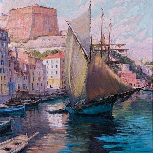 Adolphe COSSARD (1880 1952)  Bateaux dans le port de Bonifacio  Huile sur toile …