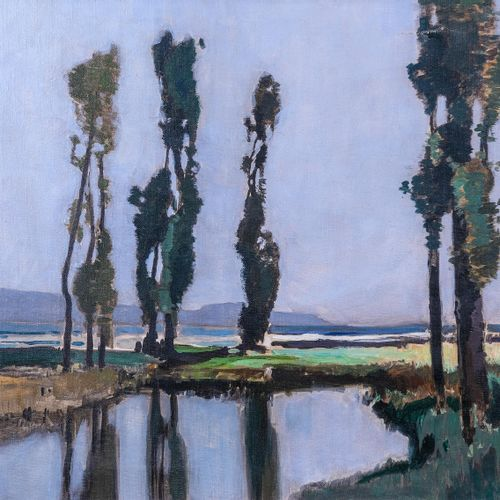 Lucien PERI (1880 1948)  Les peupliers  Huile sur toileSignée en bas à gauche 4…