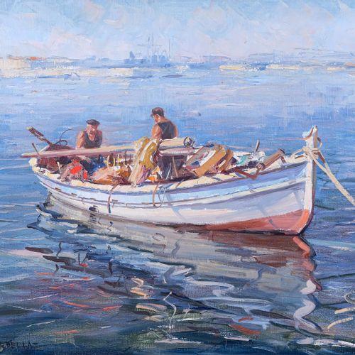 Tony CARDELLA (1898 1976)  Pêcheurs en mer  Huile sur toileSignée en bas à gauc…