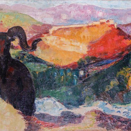 François QUELVÉE (1884 1967)  Mouflon vers Corte  Huile sur toile  Signée en bas…
