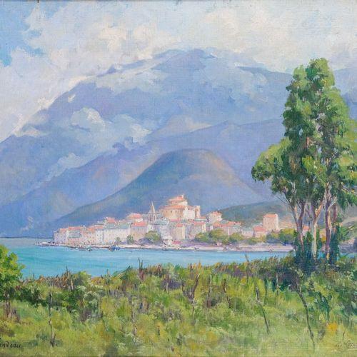 Remy E. LANDEAU (1859 1934)  Le village de Saint Florent  Huile sur toileSignée…