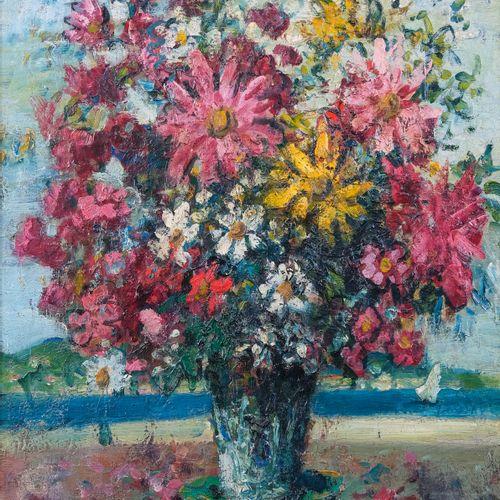 Merio AMEGLIO (1897 1970)  Bouquet de fleurs en bord de côte  Huile sur toileSi…