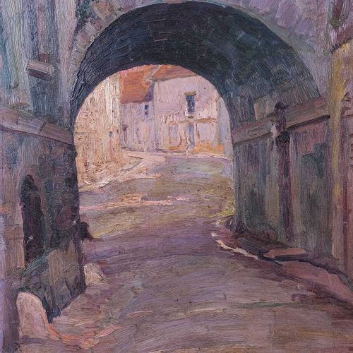 Adolphe COSSARD (1880 1952)  Ruelle à Bonifacio  Huile sur carton Signée en haut…