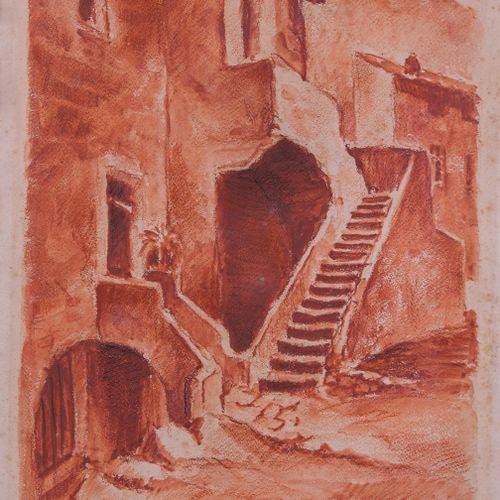 Louis PARRENS (1904 1993)  Vue de Calvi  Aquarelle et sanguineSignée, datée 193…