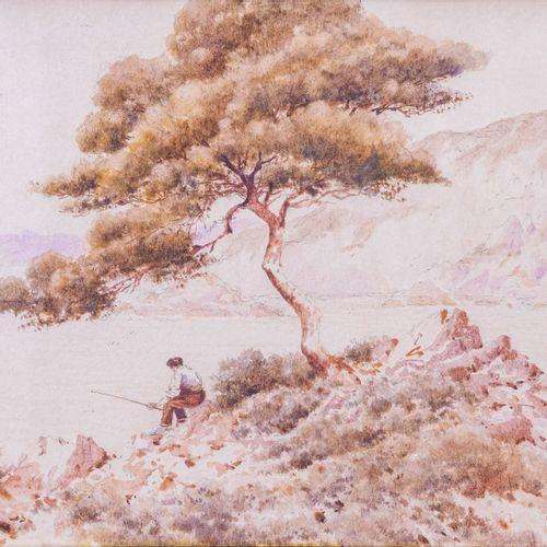 Louis RAMBAUD (XIX XX)  Pêcheur sous le pin  AquarelleSignée en bas à droite 27…
