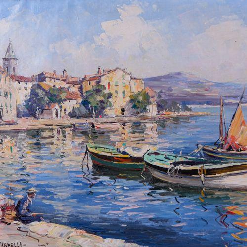Tony CARDELLA (1898 1976)  Le port de Saint Florent  Huile sur toileSignée en b…