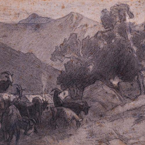 Francois CORBELLINI (1863 1943)  Les chèvres  DessinSigné en bas à droite 26 x …