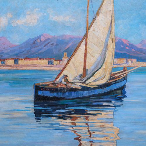 Lucien PERI (1880 1948)  Bateau dans la baie d'Ajaccio  Huile sur toile 70 x 92 …