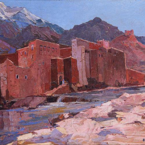 Pierre BACH (1906 1971)  Village de l'Atlas. 1935  Huile sur panneauSignée et d…
