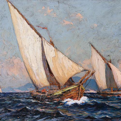 Gustave VIDAL (1895 1966)  Bateaux en mer  Huile sur isorelSignée en bas à gauc…