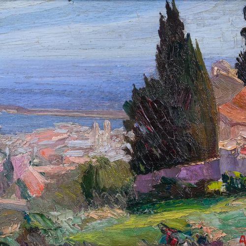 Albert GILLIO (1892 1964)  Les hauteurs de Bastia, Corse  Huile sur paneau Signé…