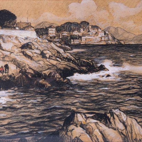 Gustave VIDAL (1895 1966)  La corniche  Crayon grasSignée en bas à droite 45 x …