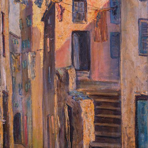 F. ROCCHESANI (XX)  Rue à Calvi  Huile sur toileSignée en bas à gauche 78,5 x 4…