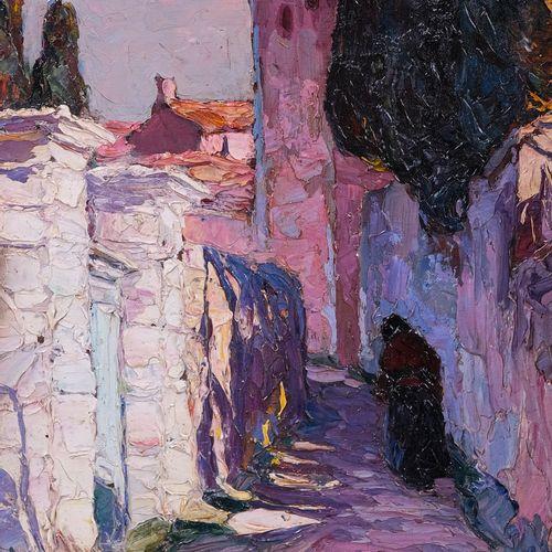 Louis BONAMICI (1878 1966)  Village Corse  Huile sur panneau Signée en bas à dro…