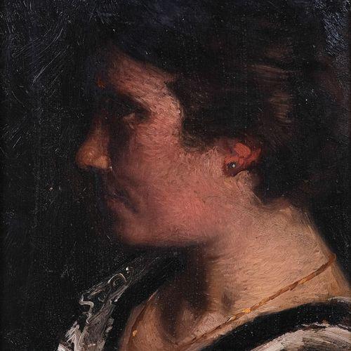 Olynthe MADRIGALI (1887 1950)  Portrait de Nicoise. 1913  Huile sur panneauSign…