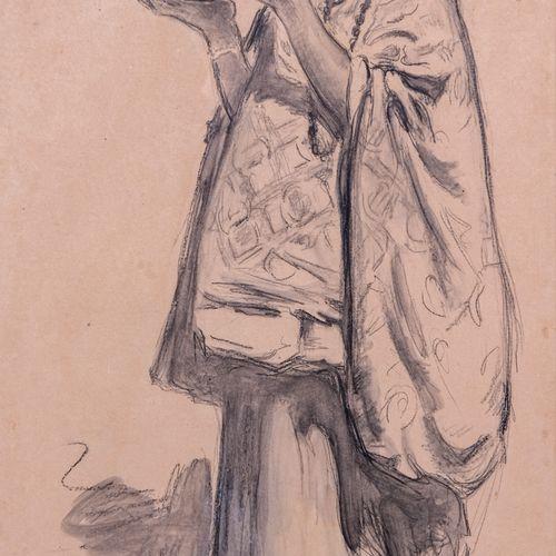 Louis Ferdinand ANTONI (1872 1940)  Personnages orientalistes  Paire de fusainS…