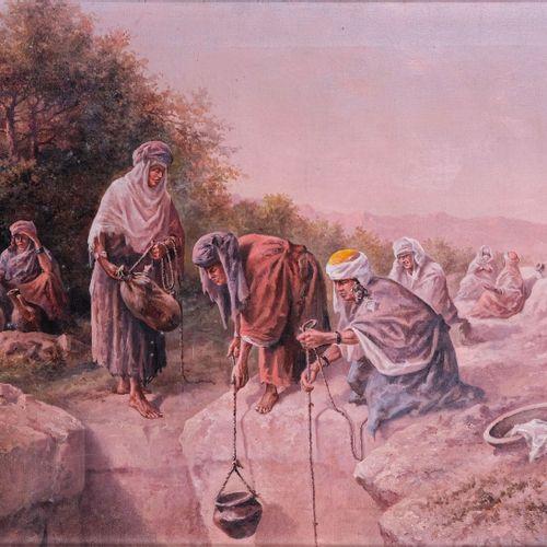 Gaspard DE TOURSKY (? 1925)  Femmes berberes au puits  Huile sur toile Signée en…