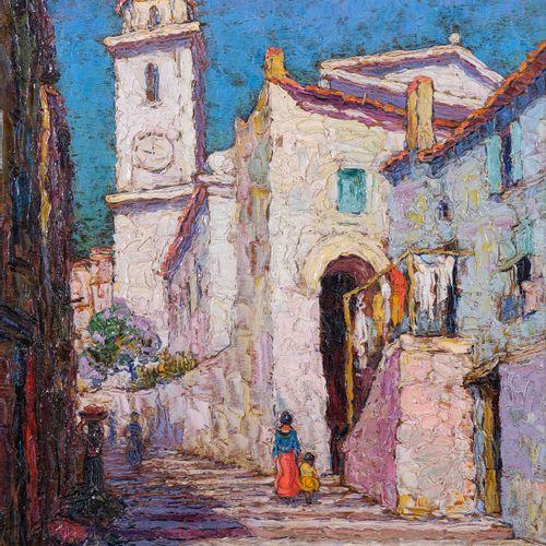 Italo GIORDANI (1882 1956)  La montée vers l'église  Huile sur panneau Signée en…