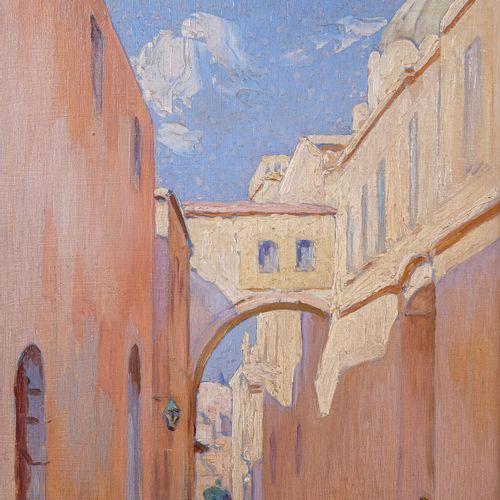 Olynthe MADRIGALI (1887 1950)  Animation dans la ruelle  Huile sur panneau Signé…