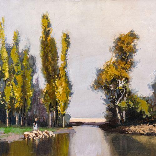 Lucien PERI (1880 1948)  La bergère  Huile sur isorel Signée en bas à droite 61 …