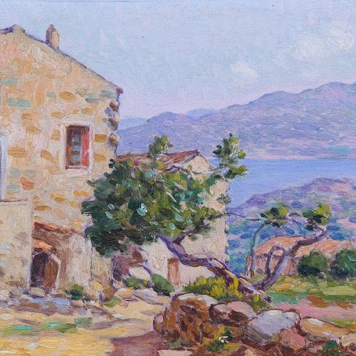 Olynthe MADRIGALI (1887 1950)  Maison à Piana, Corse  Huile sur panneau Signée e…