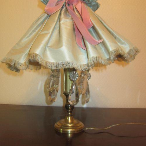 Lampe de chevet en laiton et pendeloques en verre avec abat jour en tissu, haute…