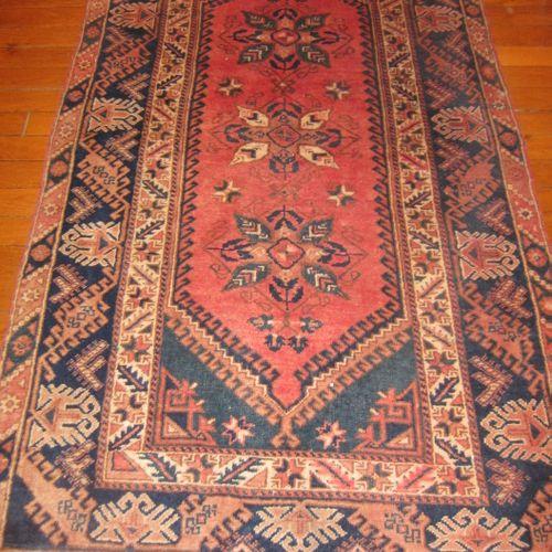 Grand tapis turc en laine à franges, 213cmx123cm