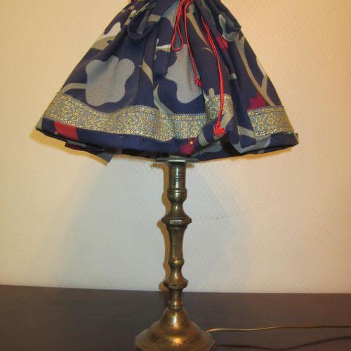 Lampe de chevet piètement métallique avec abat jour, hauteur 56cm