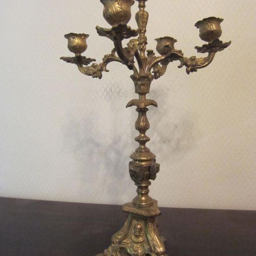 Chandelier 5 feux en bronze doré piètement et fût richement décoré, un support b…