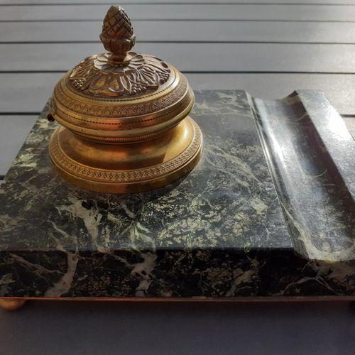 Encrier de bureau en bronze, support en marbre vert, Napoléon III, 15cmx12cm, bo…